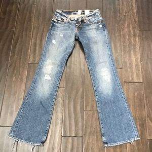 Lucky Brand light blue bootcut ripped jeans